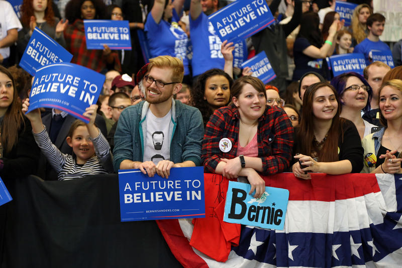 Supporters wait inside the David L. Lawrence Convention Center in Downtown Pittsburgh to see presidential hopeful Bernie Sanders speak on Thursday, March 31, 2016.