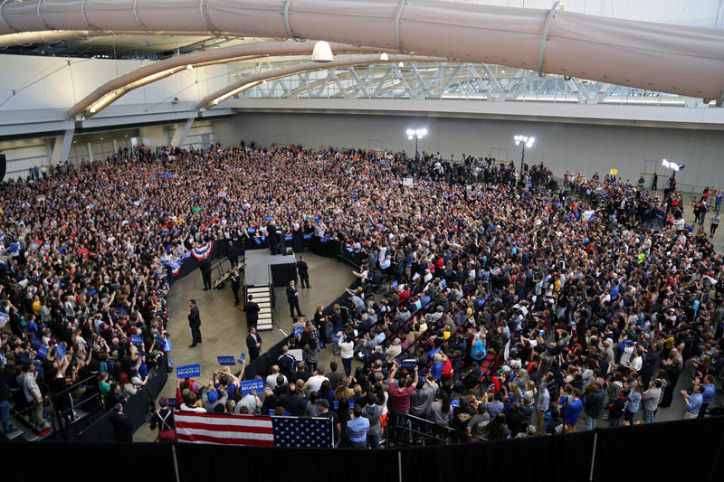 More than 8,000 packed the David L. Lawrence Convention Center in Downtown Pittsburgh to see presidential hopeful Bernie Sanders speak on Thursday, March 31, 2016.