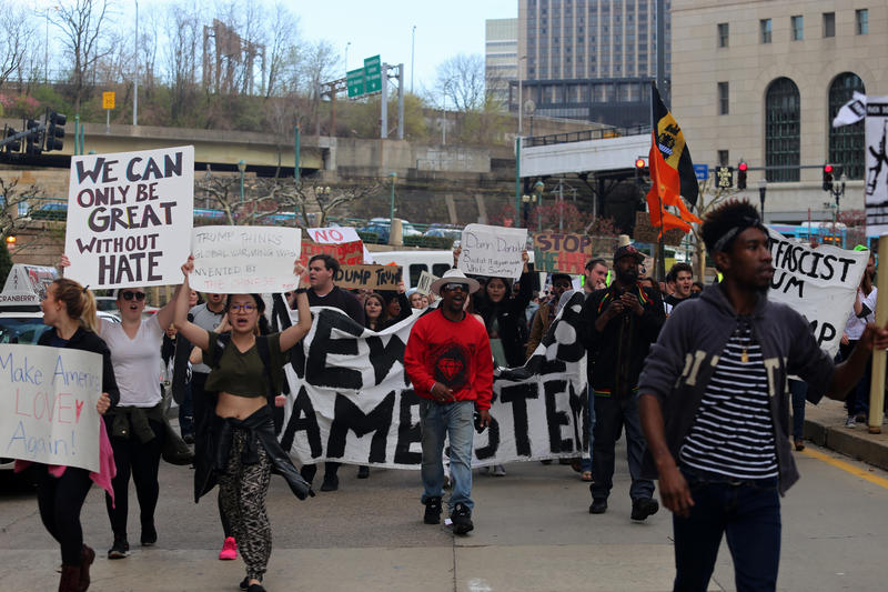 Protesters marched from three miles down Fifth Avenue from Soldiers and Sailors Memorial Hall in Oakland to the David L. Lawrence Convention Center Downtown. Republican presidential candidate Donald Trump spoke at both venues Wednesday, April 13, 2016.