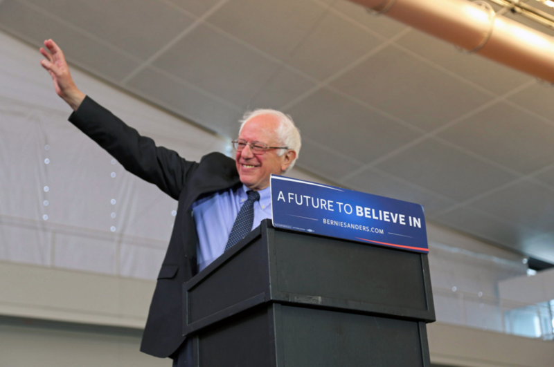 Vermont Senator Bernie Sanders waves to a packed crowd at the David L. Lawrence Convention Center in Downtown Pittsburgh on Thursday, March 31, 2016.