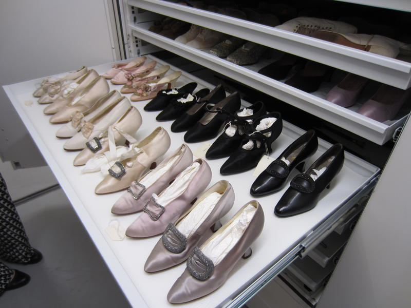 Part of the shoe collection held in storage under the Frick Art Museum.