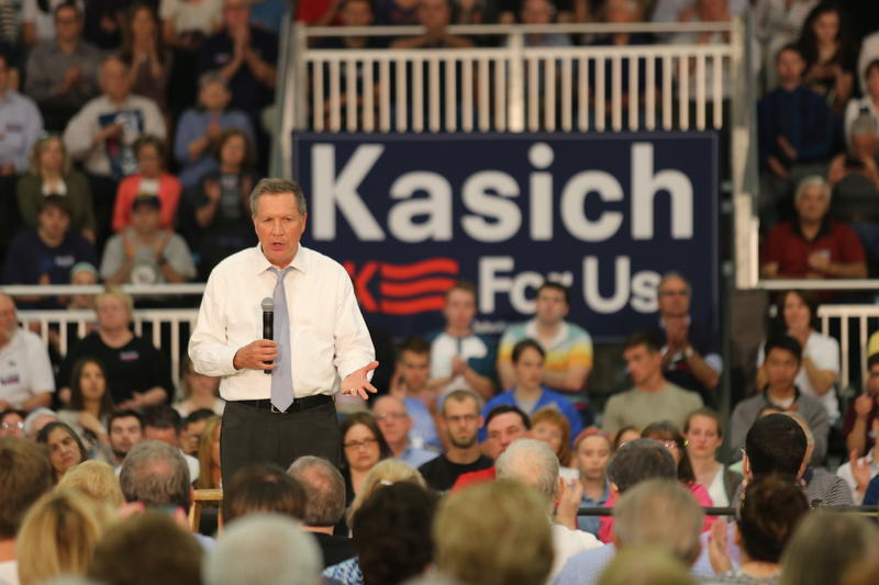 Republican presidential candidate and Ohio Gov. John Kasich talks up his McKees Rocks roots to a packed house at Montour High School in Robinson, Pa. on Monday, April 25, 2016.