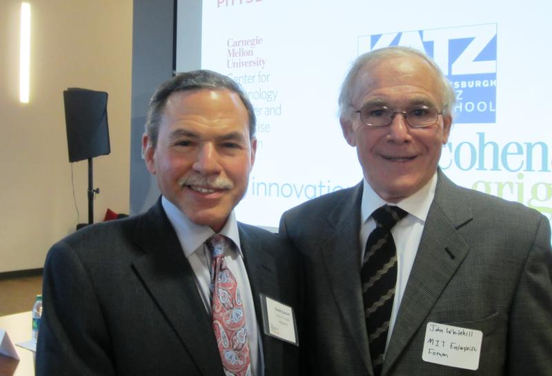 David Kalson, aprtner at the law firm Cohen and Grisby, P.C. (left) and John Whitehill, Chairperson of the MIT Enterprise Forum Pittsburgh.