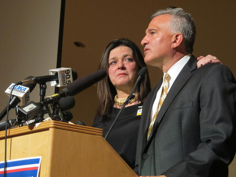 Allegheny County District Attorney Stephen A. Zappala is joined by his wife Mary on stage as he concedes to Montgomery County Commissioner Josh Shapiro in the race for the Democratic nomination for state attorney general on Tuesday, April 26, 2016.