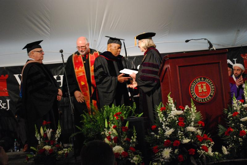 Congressman Lewis receives Honorary Doctor of Laws from Washington & Jefferson College president Tori Haring-Smith.