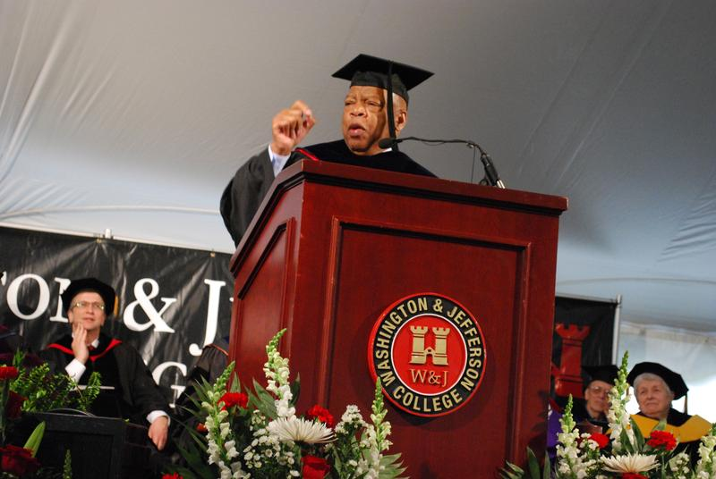 Congressman John Lewis gives the keynote address during Washington & Jefferson College's 2016 commencement.