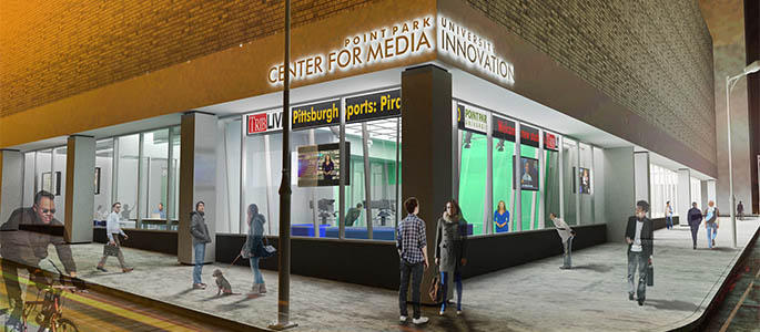 A rendering of Point Park's new Center for Media Innovation, located at Wood Street and Third Avenue.