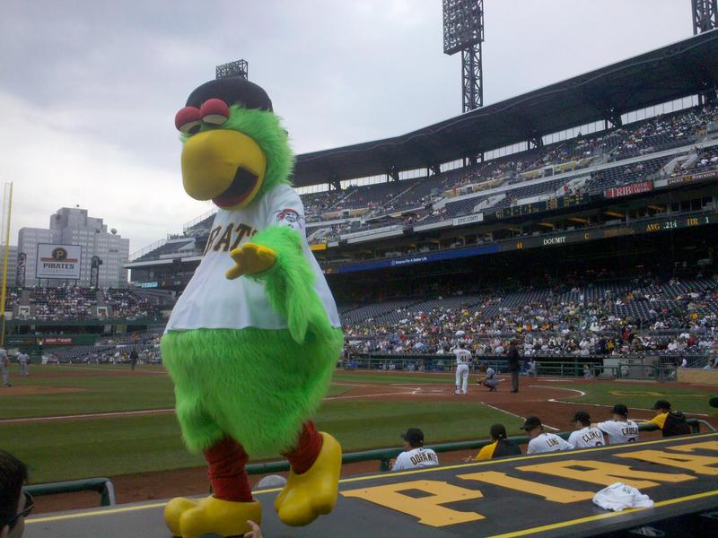 The Pittsburgh Pirate Parrot walks along the dugout at PNC Park during a 2010 game against Milwaukee.