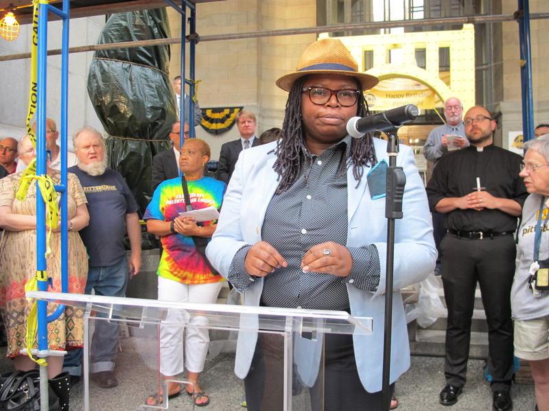 La'Tasha Mayes, executive director of New Voices Pittsburgh, led Monday's prayer vigil.