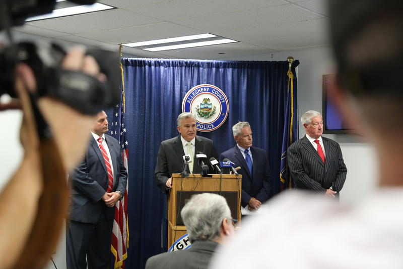 Allegheny County District Attorney Stephen A. Zappala announces the arrest of two suspects in connection with the March shootings in Wilkinsburg that killed five people and an unborn child.