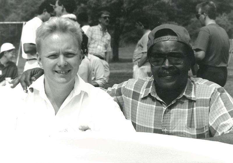 Jones and longtime PATF employee Sam Moon pictured here in 1991.