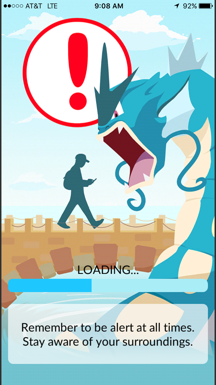 Pokemon Go users have faced criticism for staring too intensely at their phones and paying little attention to their surroundings. The app offers a telling warning in one opening screen.