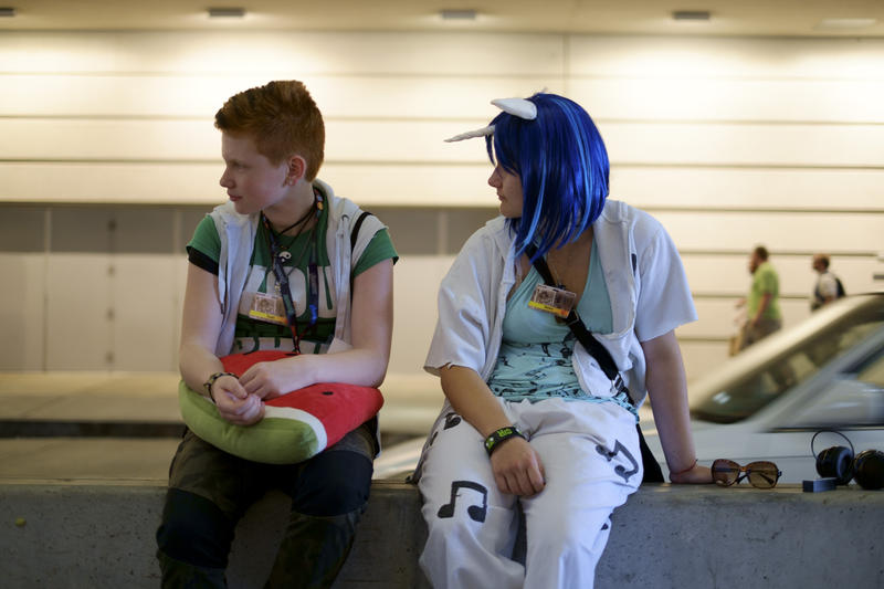 Cassidy Freeman (left) and Autumn Fluty relax at the David L. Lawrence Convention Center on Friday, July 1, 2016. Freeman and Fluty, both from upstate New York, are taking part in Anthrocon for the first time.