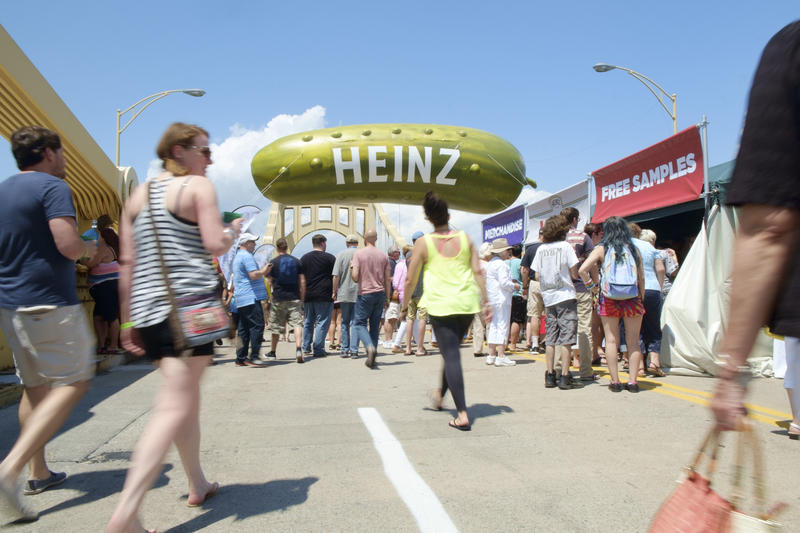 Crowds of people stroll along the Rachel Carson Bridge during Picklesburgh, an annual two day celebration of pickled foods, on Friday, July 15, 2016.