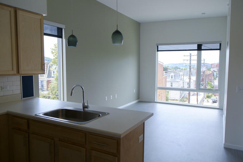 A vacant unit in Penn Mathilda Apartments' third floor offers views of Pittsburgh's East End.