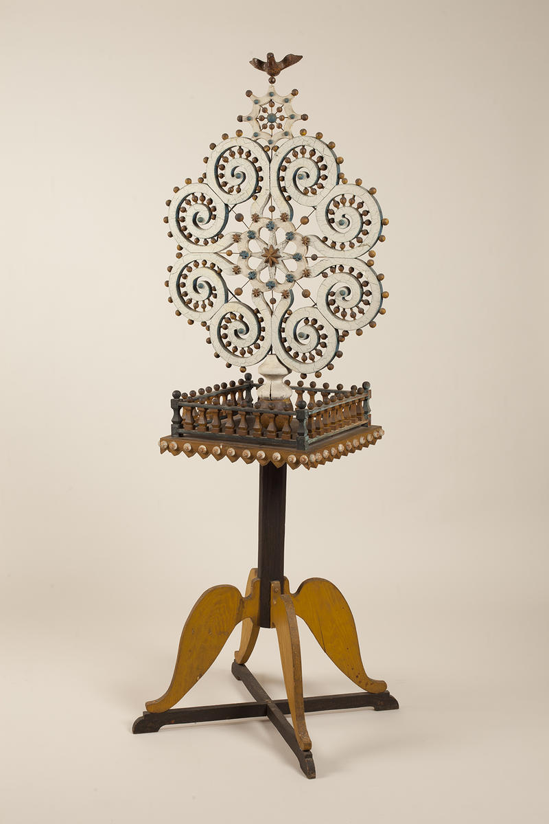 Attributed to John Scholl (1827-1916), Snowflake Table, 1907-1916, white pine, wire, and paint, 74 x 26 x 23 inches