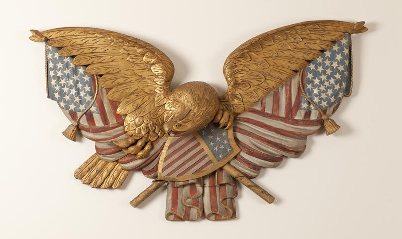 Unidentified Artist, Eagle and Flags Plaque, 1875-1900, white pine, paint, and gilt, 48 x 32 x 6 inches