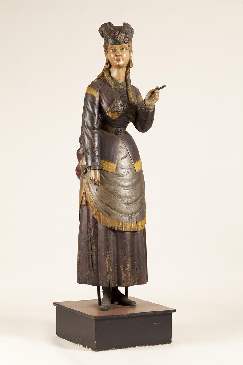 Possibly workshop of Samuel Robb (1851-1928), Girl of the Period, white pine and paint, 78 x 23 1/2 x 22 1/2 inches