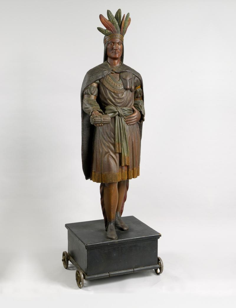 Unidentified artist, Indian Tobacconist Figure, 1875-1895, white pine and paint, 85 1/2 x 28 1/2 x 22 1/2 inches