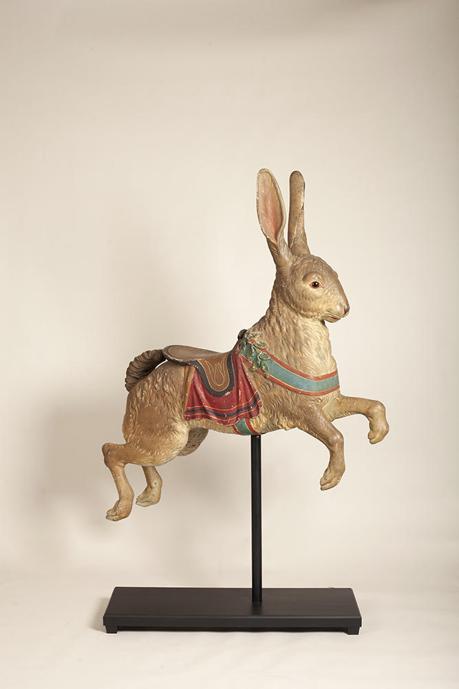 Attributed to the Dentzel Company; possibly Salvatore Cernigliaro (1879-1974), Rabbit Carousel Figure, c. 1910, basswood and paint, 73 x 50 x 13 inches (with stand)