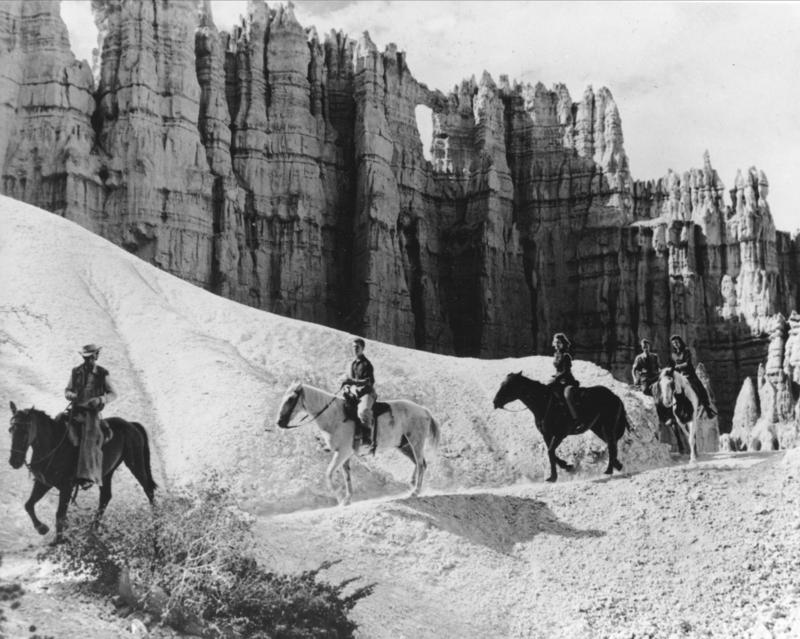 Trailriders negotiate a narrow path built among the pink cliffs of Bryce Canyon National Park, Utah, May 6, 1946.