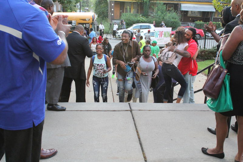 Students enter Westinghouse Academy in Homewood on the first day of school.