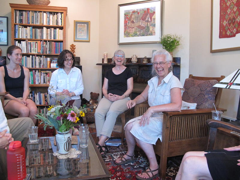 Cindy Harris, right, meets with members of the Pittsburgh Threshold Choir, which visits local hospice facilities.