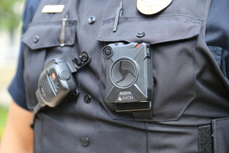 Point Park University police Lt. Nicholas Black sports a body camera on his uniform's left breast pocket.