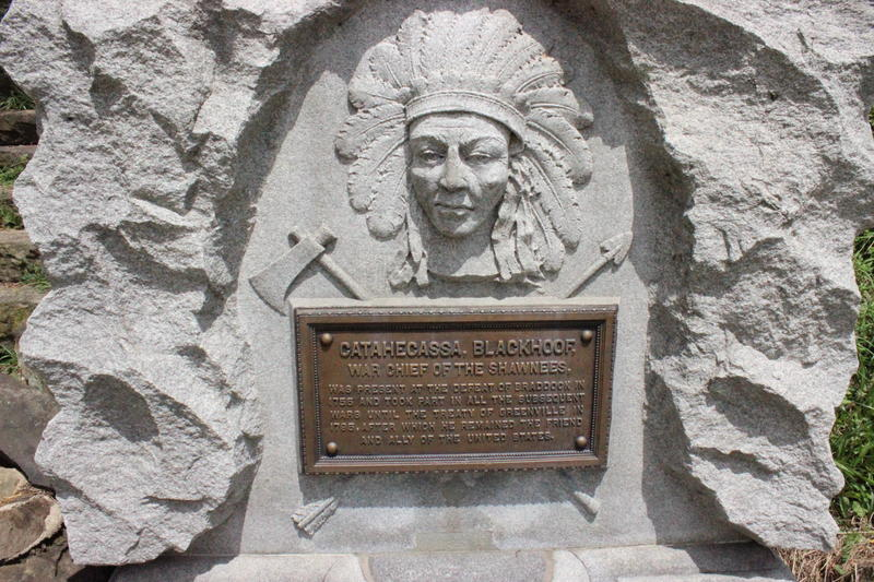 The Snyder, or Catahecassa, Fountain in Schenley Park depicts a prominent Shawnee Chief. It was funded by surplus 4th of July celebration money in 1907.