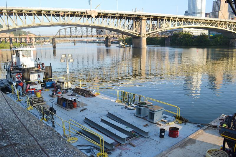 Additional materials for the jacking frame on barge for delivery to the bridge for field fabrication and installation.