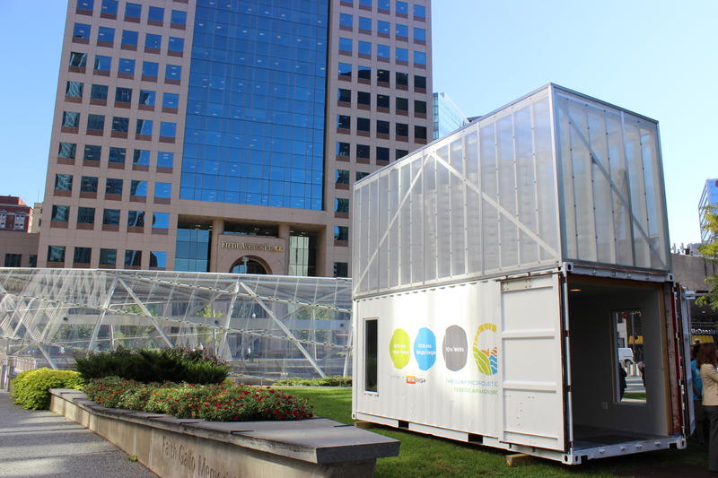 The Aquaponics Project portable container will be operational soon. It is next to the Gateway Center T-station near Point State Park.