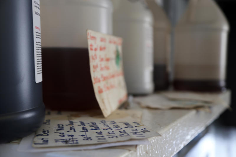 Small, stained notecards litter the back offices of the Natrona Bottling Company bearing handwritten recipes for each of their dozen or so rotating flavors on Wednesday, Sept. 14, 2016.