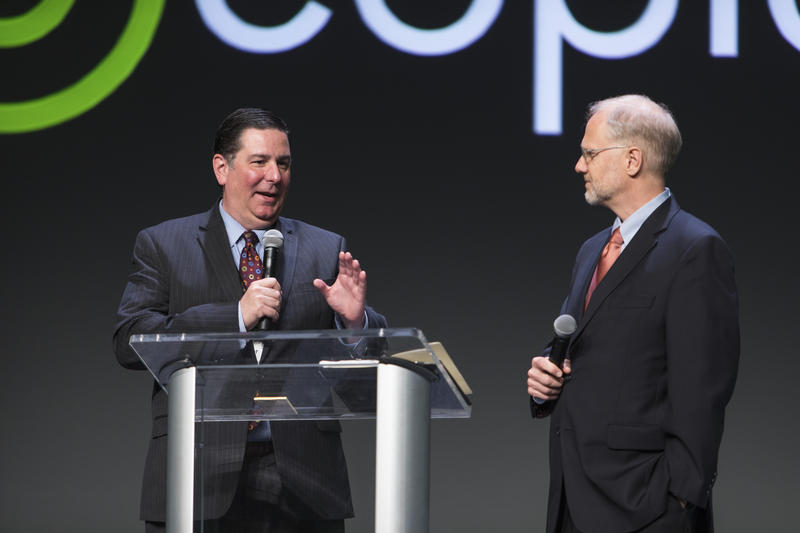 Pittsburgh Mayor Bill Peduto and President of the Heinz Endowments Grant Oliphant at the P4 Conference at the David L. Lawrence Convention Center.