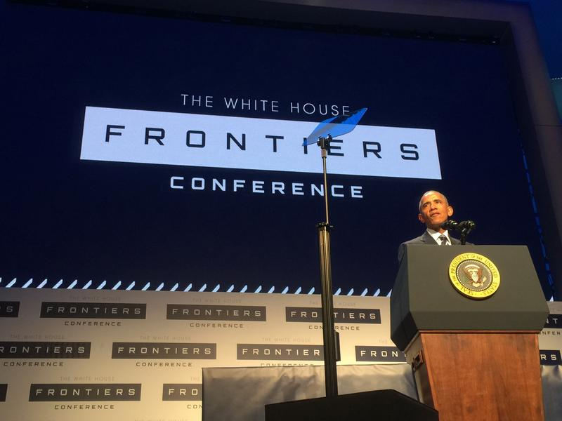 President Obama addresses the audience at the White House-organized Frontiers Conference at the University of Pittsburgh