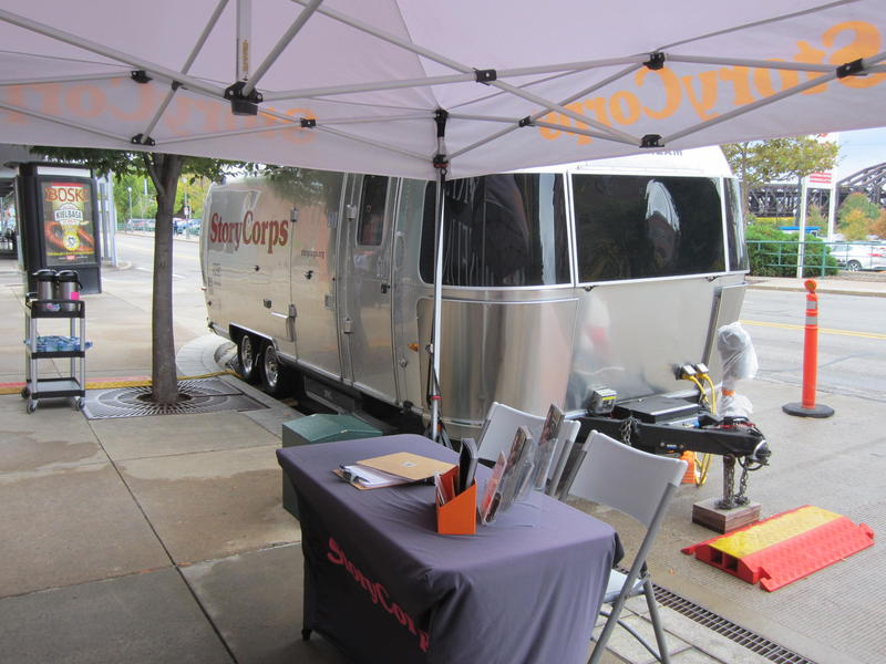 The Story Corps Mobile Recording Booth will be parked in front of the Senator John Heinz History Center through Nov. 11 as part of its cross country tour.