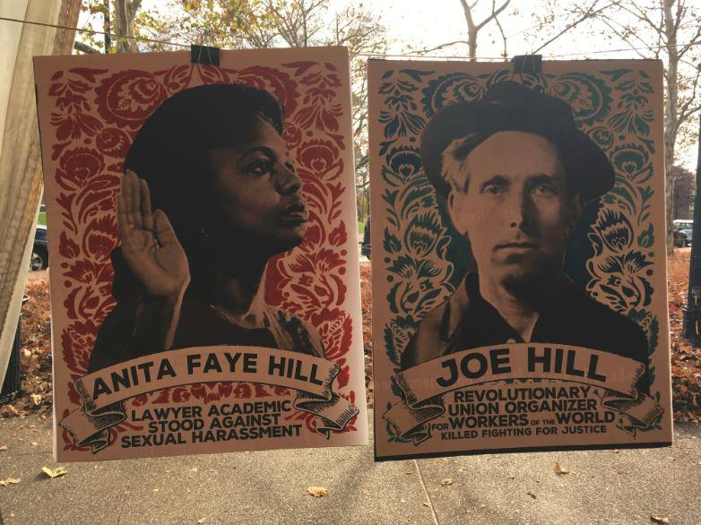 Posters surrounding the lunching workers and activists honored famous social justice figures on Nov. 29, 2016.