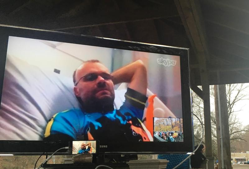Danny Chew talks with Dirty Dozen racers via Skype on November 26, 2016.