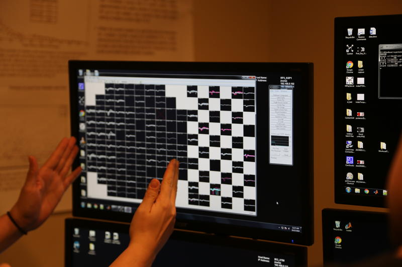 Each black square on the screen shows the electrical signal of an individual neuron firing, while researchers calibrate the robotic arm with Copeland's brain activity on Thursday, Oct. 27, 2016.