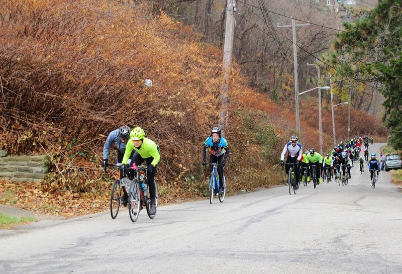 Riders climb Christopher St. in Stanton Heights, which made its Dirty Dozen debut this year, on November 26, 2016.