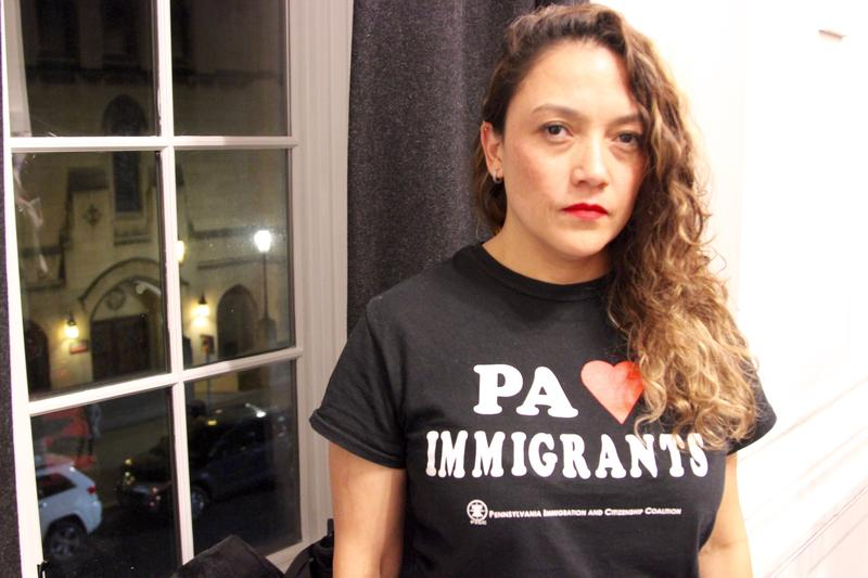 "Brenda Solkez, 38, of Regent Square, spoke about how deportation impacts families and advocated for the rights of undocumented immigrants. After this photograph was shot, she asked, ""do I look mad? I am mad."""