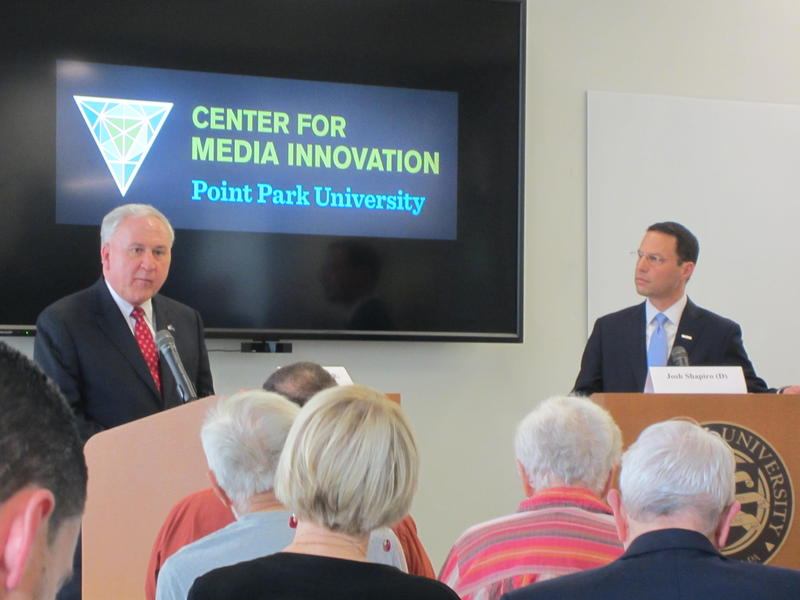 Republican State Sen. John Rafferty and Montgomery County Commissioner Josh Shapiro, a Democrat, debate at Point Park University's Center for Media Innovation.