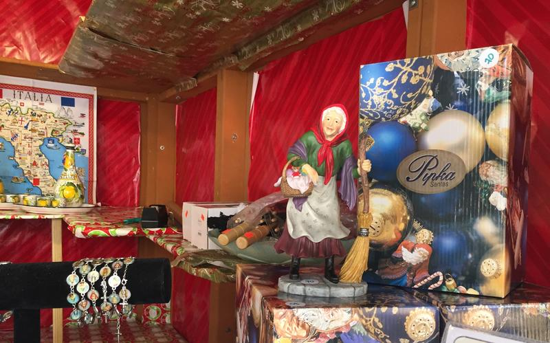 Befana, the Italian version of Santa Claus, is sold at the Merante Gifts location at the Market Square Holiday shops.