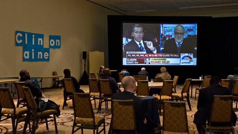 Pennsylvania Democrats watch election results late into the night.