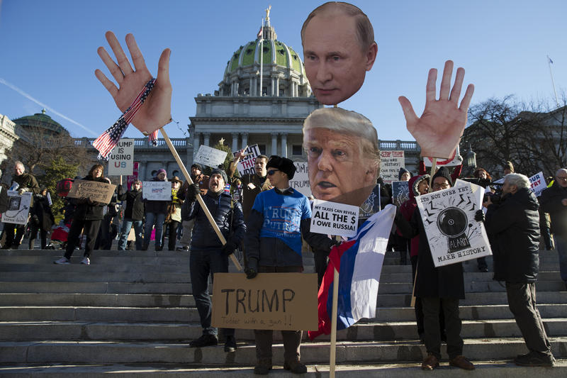 Protesters demonstrate ahead of Pennsylvania's 58th electoral college at the state capitol in Harrisburg, Pa., Monday, Dec. 19, 2016.