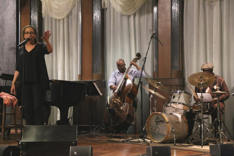 Tamara Tunie rehearsing, backed by Jeff Grubbs on bass and Roger Humphries on drums.