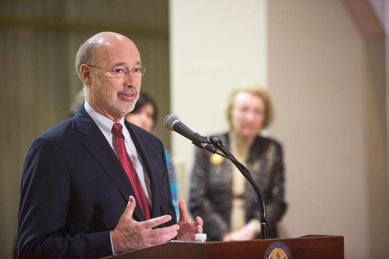 Gov. Tom Wolf speaks at a Chanukah celebration on Tuesday, Dec. 27, 2016.