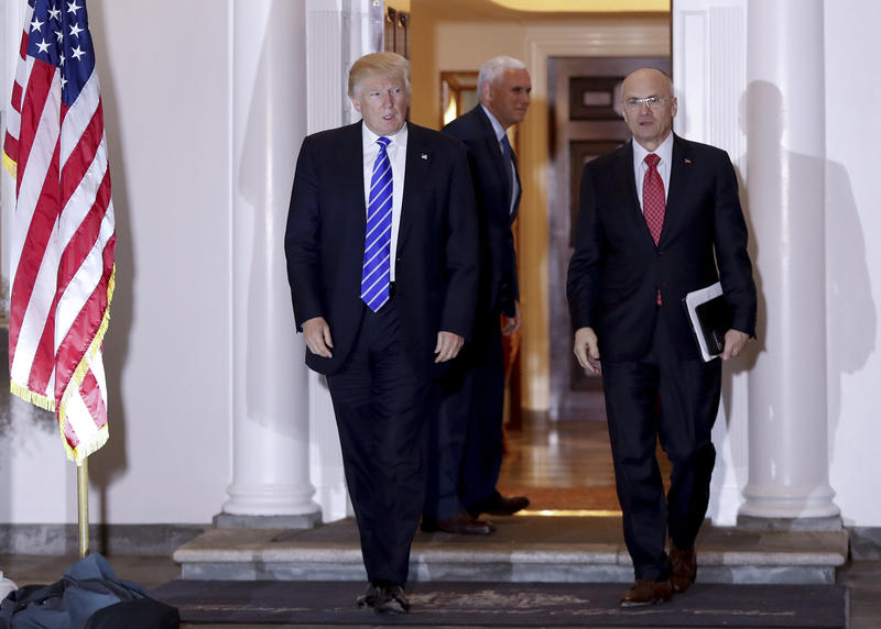 In this Nov. 19, 2016 file photo, then-President-elect Donald Trump walks with Labor Secretary-designate Andy Puzder from Trump National Golf Club Bedminster clubhouse in Bedminster, N.J.