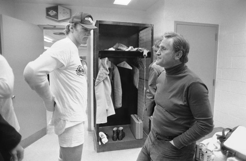 "Miami Dolphins Coach Don Shula, right, tells Steelers Jack Lambert, ""Wish we could have given you a better game,"" in the visiting coach's office following the AFC semifinal game in Pittsburgh, Dec. 31, 1979. The Steelers went on to win the Super Bowl."