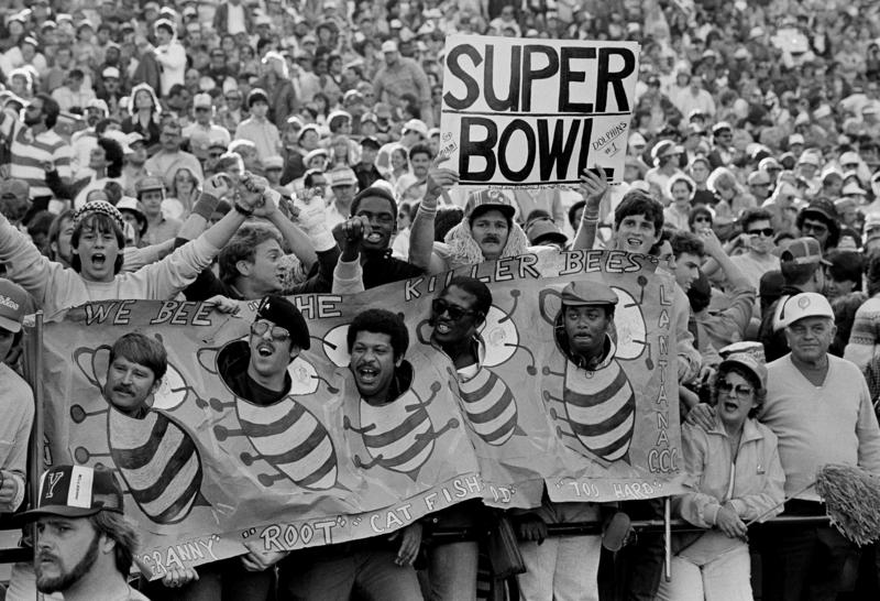 "Miami Dolphins fans cheer from the stands during the AFC playoff game in which the Dolphins defeated the Steelers 45-28, Jan. 6, 1985 in Miami. Several Dolphins defenders' names started with ""B,"" prompting the nickname ""Killer Bees."""