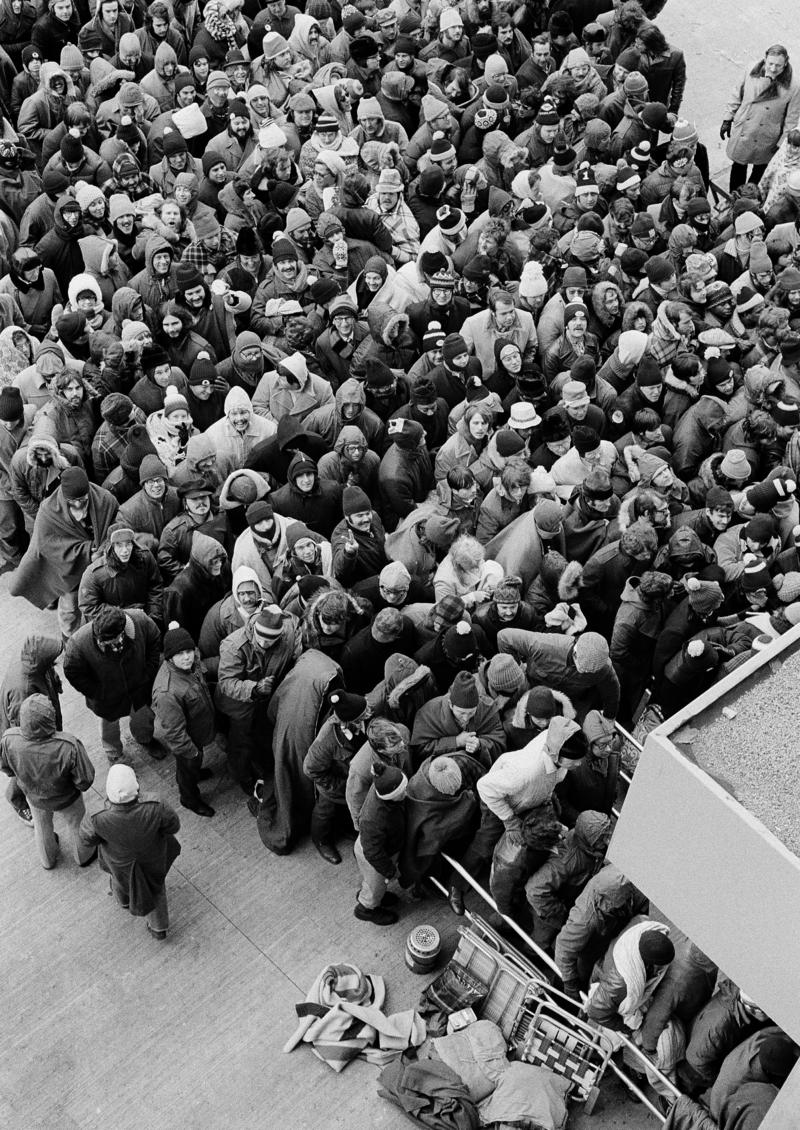 Several thousand Steelers fans waited hours overnight in sub-freezing temperatures to purchase tickets outside Three Rivers Stadium in December 1972.